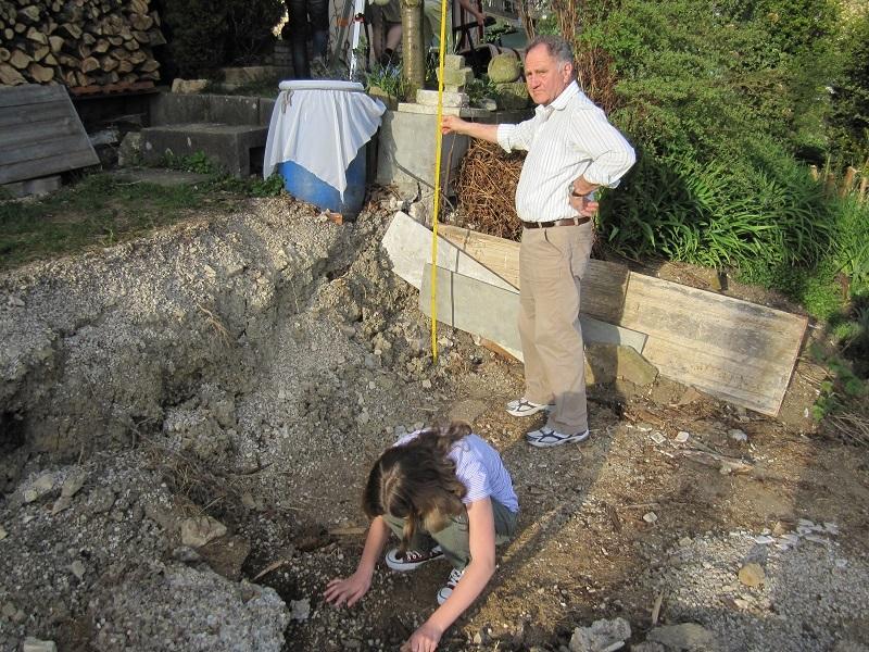 Das Einmessen der Trockenmauer